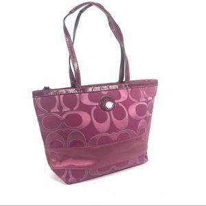 Coach Signature C striped tote bag purse f19428